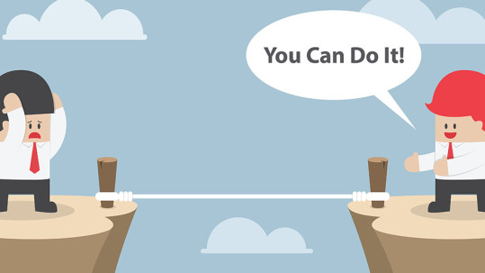 """Businessman motivate his friend to cross the cliff by saying """"You Can Do It"""", VECTOR, EPS10"""